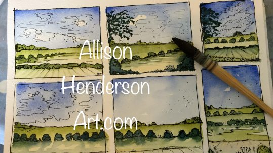 Watercolour and ink paintings to post as cards